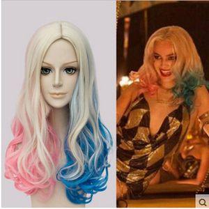 Xiu Zhi Mei Vendita calda! ECVTOP Suicide Squad Costume Harley Quinn Parrucca harley quinn cosplay Bionda Two tone Ponytails Parrucca per ragazza Costume