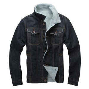 Atacado- 2017 New Winter New Fleece Engrossar Jaqueta jeans Casaco Denim Casual Para o sexo masculino Quente Jaqueta Solta Denim com Oversized Collar 101504
