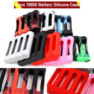 4 piezas 18650 Batería Funda de silicona Cubierta protectora de goma Protector de la piel Sosteniendo para 4 piezas 18650 E Cig Batería Colorido DHL Gratis