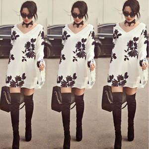 Vestidos Femininos 2016 одежда Женская мода Женская Испания Сексуальная белый с длинным рукавом листья печати Dress V шеи случайные свободные dress плюс размер XL