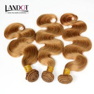Miel Blonde Russe Vierge de Cheveux Humains Weave Bundles Couleur 27 Russe Vague de Corps Cheveux 3 Pcs Russe Corps Wavy Remy Extensions de Cheveux Double Trame