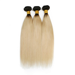 ELIBESS HAIR- Ombre 1b 613 Dark Roots Blonde 100g One PieceBrazilian Remy Hair Extension Straight 100% Human Hair Weave Bundles Double Weft