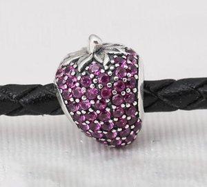 2016 YENI yaz Otantik 925 gümüş boncuklar PAVÉ STRAWBERRY, KıRMıZı CZ pandora için Yılan zincir bilezikler kolye charms