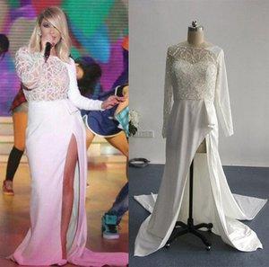 Real Images Nancy Ajram Split Abendkleider mit langen Ärmeln inspiriert von Zuhair Murad Sheer Runway Celebrity Gowns