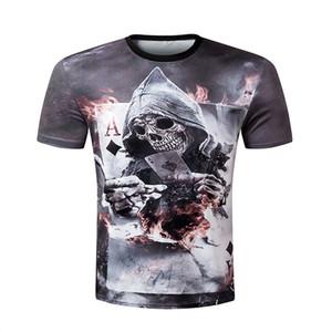 Toptan-2016 Yaz yeni 3d Erkekler kısa kollu t-shirt erkekler Kafatası Yanan Yazdır KÖPÜK Yeni Tasarım Rahat Tarzı Serin erkek 3d tee