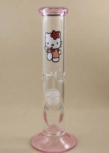 2016 schöne Kitty Katze Glas Bong rosa Glas Klieschen Rigs Rauchen Wasserpfeifen gerade Recycler Wasserpfeife Bohrinsel 18mm gemeinsame
