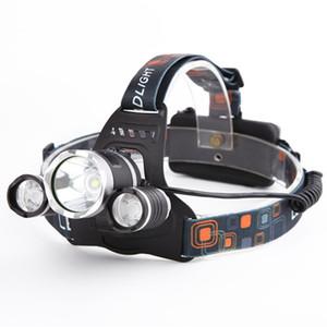 10000Lm CREE XML T6 + 2R5 LED phare phare lampe frontale lampe lumière 4mode torche + 2x18650 batterie + chargeur de voiture UE / US pour l'éclairage de pêche