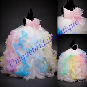 Belles Princes Filles Pageant Robes 2019 Arc-En-Haut Jupes Photos Réelles Ballgown Coloré Fleur Filles Robe Longue