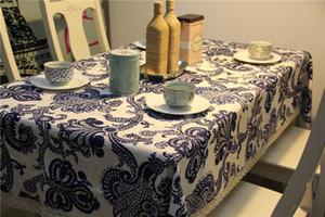 Синий-белый китайский стиль Скатерть Новый 90 * 90см Хлопок Таблица Обложка Деревня Стиль Таблица Крышка для домашнего декора