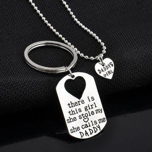 Vater Tochter Schlüsselanhänger Daddys Mädchen Herz Anhänger Halsketten Silber Überzogene Legierung Anhänger Vatertagsgeschenk