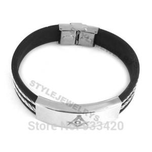 Free shipping! Classic Masonic Bracelet Stainless Steel Jewelry Black Rubber Masonic Bracelet Biker Men Wholesale SJB0133B