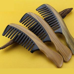 Capelli dell'annata Legno pettine 5pcs / lot Onda maniglia verde sandalo corno del bue di cura dei capelli a denti larghi styling governare districante capelli ricci