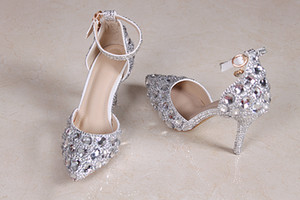 2017 Handmade Crystal Rhinestone Wedding Shoes Silver Pointed Toes Bridal Sandals For Women 8cm Evening Party High Heels Dress Shoes