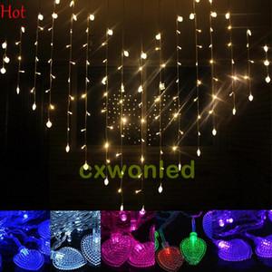 LED Forma coração corda cortina de luz de 220V 110V levou cortina luzes 124pcs LEDs 1.5M * 1.2M do casamento do Natal Decoração Luz