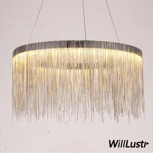 Aluminum chain ring chandelier round pendant lamp fringe chains suspension lighting living sitting room hotel restaurant hall mall light