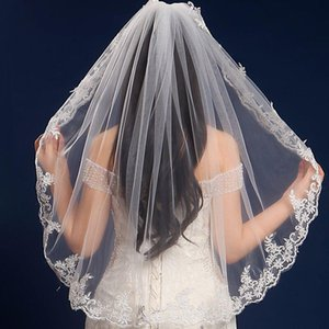 Nuevo diseñador de moda superventas Vintage lujo espumosos romántico mantilla velo blanco marfil hermoso apliques borde codo velo