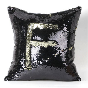 2 Tone Color Sequins Pillow Case Sofa Pearl Sequin Pillowslip Reversible Iridescent Glow Mesmerized Pillow Covers Home Decorative