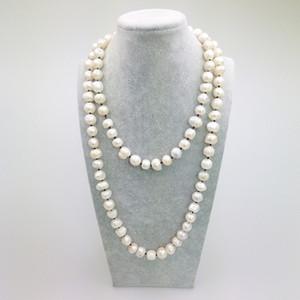 PE0051 2016 Nueva Moda Marrón Cuerda 42 pulgadas Knotted Fresh Water pearl collar largo para mujer