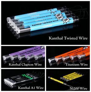 Kan thal A1 Nickel Ni 200 Ni200 Clapton Wire Kan thal Twisted Titanium Wire avec 5 résistances chauffantes différentes, 120 mm, forme de tube, vape DHL