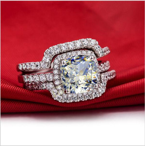 Горячая роскошь новый свадебный набор обручальные кольца наборы 3 карат G-H подушка Принцесса вырезать лучшее качество Nscd синтетический алмаз 3PC кольца наборы