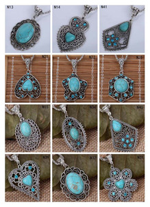 Moda das mulheres DIY Europeu Beads colar de pingente DFMTQN2, oco colar de prata turquesa tibetana (com corrente) 12 peças muito estilo misto