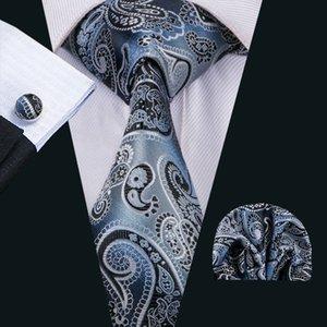Cravate en soie classique pour les hommes cravate Paisely définit les cravates mens noir de cravate de mens de boutons de manchette Hanky définit la réunion tissée par jacquard d'affaires de fête de mariage N-1510