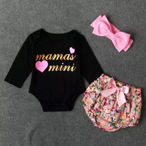 Baby Girl Одежда Новорожденных Наряды цветы детские хлопчатобумажные ползунки с длинным рукавом ползунки + шорты + повязка на голову 3шт костюм детская одежда наборы