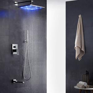 """10 """"LED 샤워 믹서 세트 뜨거운 물과 차가운 수도꼭지 샤워 스퀘어 샤워 헤드 LED 물, Chromed Spout 저장 물에 의해 구동"""