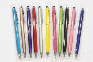 11 color 2 in 1 touch pen Capacitive Stylus Ballpoint Pen capacitive Universel For Iphone 7 Samsung S8 S8plus Smart phones Free Shipping