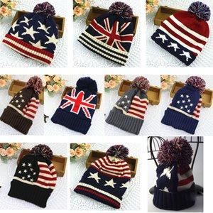 İngiliz tarzı bayrak yün şapka erkekler ve kadınlar sonbahar ve kış sevimli moda ABD kış sıcak kulak kulak örgü kış şapka