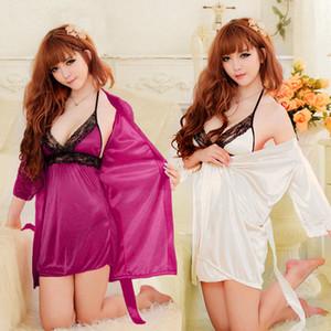 أزياء المرأة الملابس الداخلية سلسلة مثير ينغيرييس ثوب النوم 3 قطعة مجموعة رداء + حبال اللباس + g سلسلة الدانتيل لامعة الحرير الجليد النوم 8 ألوان