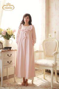 Wholesale-Free Shipping 100% Fleece Princess Nightdress Women's Winter Pijamas Long Robe Pink and Purple Nightgown
