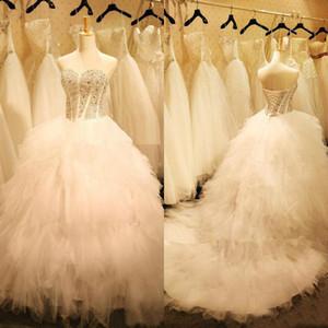 Modest Schatz besetzte Tiered Korsett Lange Brautkleider Luxuxkristallglas Perlen Tüll Ballkleid Brautkleider vestido de noiva barato