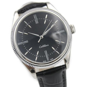hot Cellini Series 18k Silver mechanical watch Black leather Black Surface High quality automatic MENS watches
