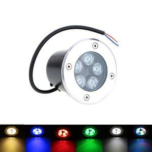Lámpara de luz LED subterránea de 5W AC 85-265V LED en luces de tierra Lámpara de jardín para exteriores RGB Luz cálida / blanca / roja / azul / verde para jardines