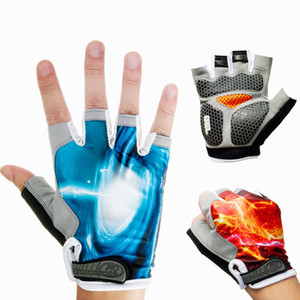 Breathable Cycling Gloves Half Finger Fiber Leather Male Famale Gloves Fitness MTB Downhill Mountain Outdoor Sports Mittens