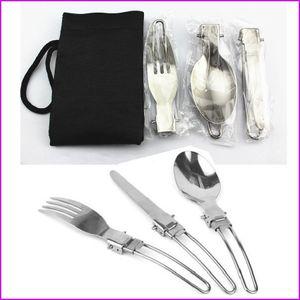 3 adet / takım Katlanır Piknik / Seyahat / Yürüyüş / Kamp Çatal Eşyaları Taşınabilir Açık Tablewares Yemek Bıçağı / Çatal / Kaşık