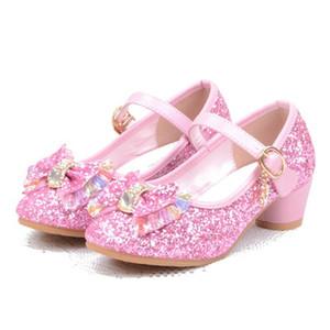 Kızlar Sandalet Çocuklar Kristal Ayakkabı Rüya Yüksek Topuklu Öğrenciler Dans Parti Sequins Ayakkabı Çocuk Deri Moda Yay Pembe Prenses