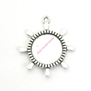 12pcs argento antico placcato timone Photo Frame Pendenti di fascini per il braccialetto Creazione di gioielli fai da te collana artigianale 40x36mm