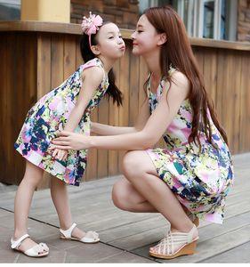 Passende Mutter Tochter Kleidung Mode Familie Outfits Mama Mädchen Kleid Mama mich Sommer Mode Blumendruck Ärmellose Kleider