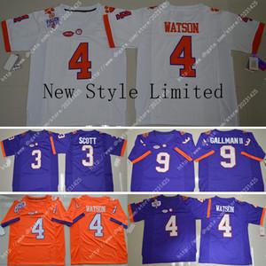 Clemson Tigers 4 DeShaun Watson 3 Pas Cher Artavis Scott 9 Logos De Broderie Wayne Gallman II Cousu Maillot De Football America College Hommes