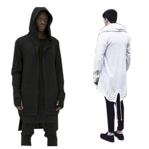 All'ingrosso-2016 Uomo con cappuccio Outwear Plus Hoodies lungo Soprabito a coda di rondine Cardigan Hiphop Uomo Mantello oversize Streetwear