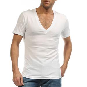 Atacado-Undershirt para homens camisa de vestido profundo decote em V Fanila T Shirt para Camiseta Hombre 95% Algodão Ondergoed Sexy Branco S-XXXL G 2458