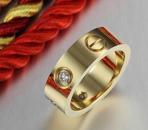 in acciaio di vendita di titanio calda rosa anello donne monili cacciavite amante gold wedding ring anello argento