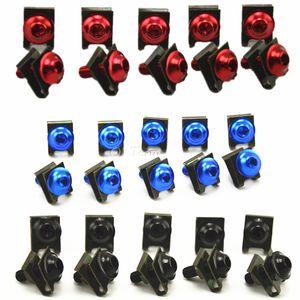 10 adet Evrensel CNC Alüminyum Fairing Cıvata Vidalar set Motosiklet Aksesuarları Tüm modeller Için Kırmızı / Siyah / Mavi / Gümüş