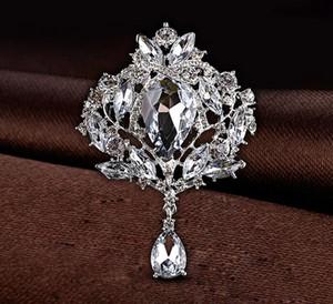 Büyük Kristal Waterdrop En Kaliteli Gümüş Ton Damla Broş Zarif Büyük Diamante Takı Broş Büyük Kristal Kadın Broach