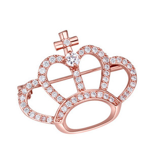 Brooches Wholesale Gift Fashion Women Luxury High Quality Zircon 18K Gold Plated Crown Brooch Pins Jewelry Wholesale Drop Shipping TB008