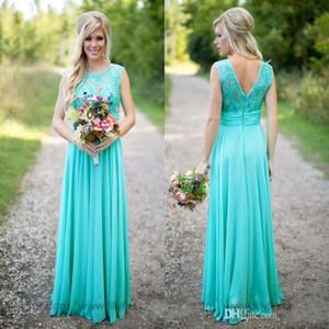 청록색 롱 컨트리 들러리 드레스 Scoop Neckline 쉬폰 바닥 길이 레이스 V 백리스 롱 메이드 오브 명예 신부 들러리 드레스