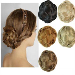 Sara Frauen Braut Chignon Bun, Clip in Hair Easy Clip Kleine Zöpfe Flechten Brötchen Große Haarknoten Synthetische Haar Chignon Haarteile