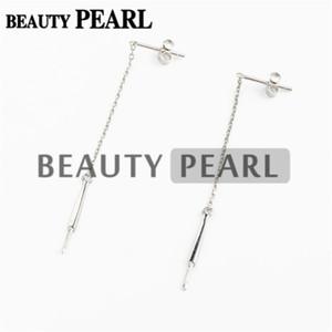 HOPEARL Joyas de perlas Pendientes de gota Montajes de enhebrador Plata de ley 925 Cadena colgante Pendientes en blanco 3 pares